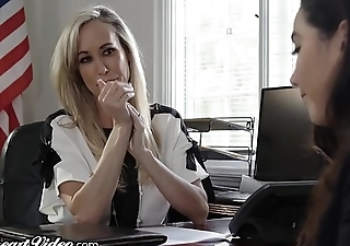 MILF School Brandi Love Licked by Lez Student in Office