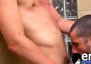 Big dicked young men have a fuck session in the shower