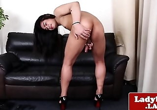 Solo ladyboy jerking missing her cock gently