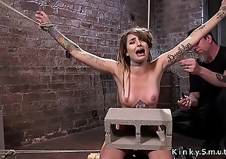 Hogtied slave gets extreme torment in dungeon