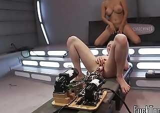 Bigtit machine lesbos getting pussies drilled