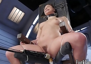 Tiedup tackle babe enjoys pussy stretching
