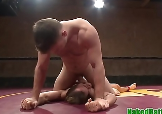 Athletic hunk spills cum on submissive stud