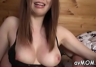Sexy mama gets plowed with giant cock and well-chosen on her leg