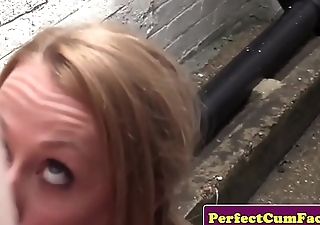 Smalltitted british babe cocksucking outdoors