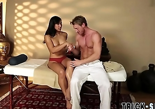 Massaged asian cumsprayed