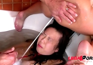 Submissive bitch Tigerr Benson Roughed up &amp_ Humiliated down Bath Tub GP013