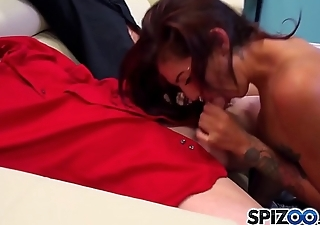 Spizoo - Petite Aimee Black sucking 3 big dicks, big booty