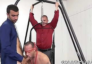 Hunky blindfolded guy fucked hard by his younger colleague