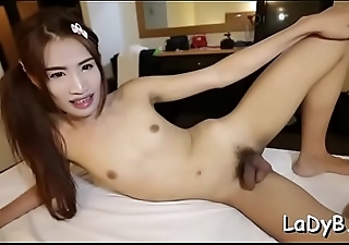 Enthusiastic stud rams a tiny arsehole of a thai shemale whore
