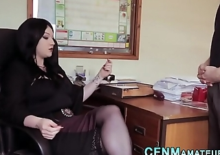 Cfnm office domina sucks cock