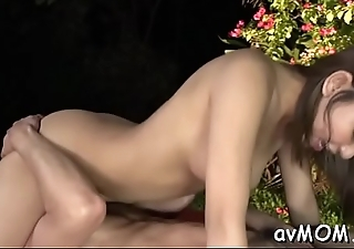 Stunning slut mom with fat twat lips devours giant hairy cock