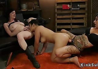 Asian anal gangbang in lezdom threesome