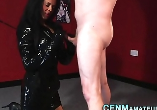 Latex cfnm dust-ball jerks cock