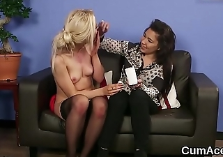 Frisky doll gets cumshot on her face swallowing all the cream