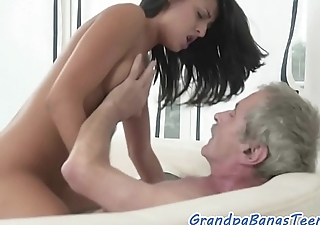 Teen beauty sucks grandpas dick