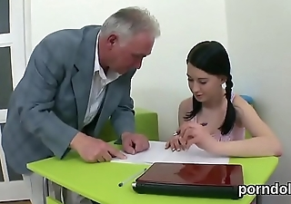 Natural schoolgirl is teased and shagged by aged schoolteacher