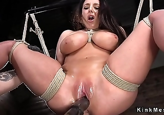 Unsophisticated huge tits brunette pussy toyed