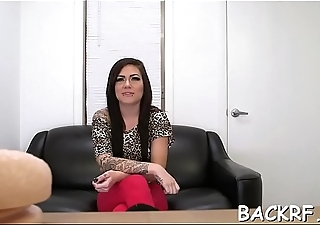 Hussy with deadly curves gets slammed by her interviewer