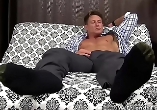 Ripped stud toe licked while wanking off his fat cock