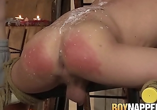 Duteous twink roughly fucked and disciplined in wax