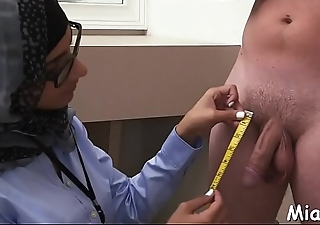 Dark and white ramrods get jerked by a horny and busty arab babe