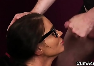 Wicked centerfold gets cum load on her face eating all the charge