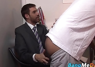 Mature daddy drills cute twink from behind here public bar