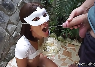 Gorgeous Girl Gets Covered in Piss and Cum