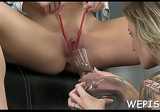 Perverted hotty and will not hear of boyfriend make pissing in a process