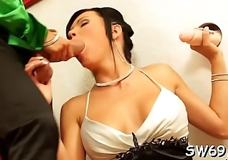 Sweetheart gets shaved pussy permeated at gloryhole with a toy