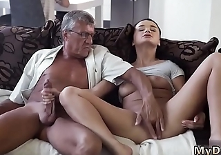 Skinny granny anal old with an increment of dad daddy father patron'_ crony'_s daughter
