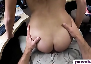Hot babe with glasses banged by pawn guy