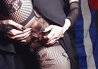 HD Upskirt Closeup Flimsy Pussy and Asshole far Crotchless Fishnet Tights
