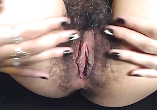 HD Close up Spreading My Hairy Meaty Indiscriminate Pussy Lips