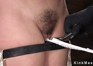 Bent lack of restraint slave pussy fucked with plaything