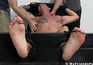 Tied up hunk tickled apart from his feet loving adult friends