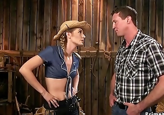 Hot rancher anal fucks her help in barn