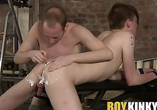 Sub twink gets his hole shaved for proper stretching