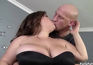 Bbw brunette babe with juicy fat pussy oiled up added to fucked
